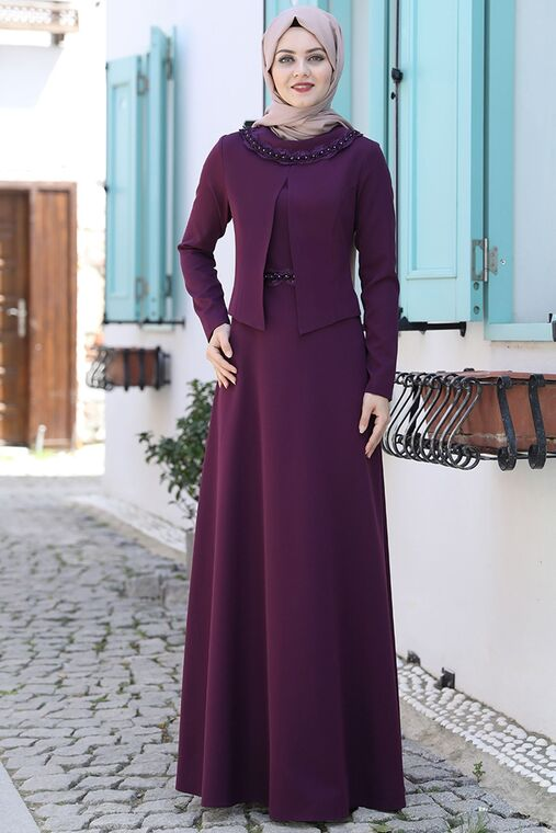 Ahunisa - Mürdüm Ayliz Elbise - AHU15954