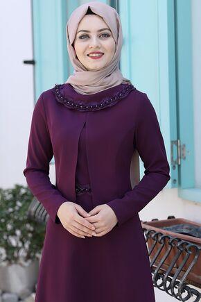 Mürdüm Ayliz Elbise - AHU15954 - Thumbnail