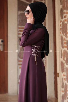 Mürdüm Beste Elbise - RZ12862 - Thumbnail
