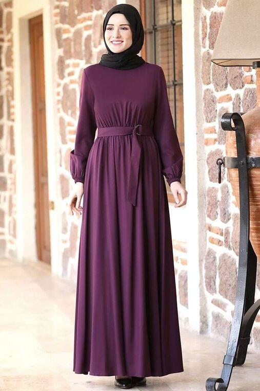 Rana Zenn - Mürdüm Ceren Elbise - RZ15827