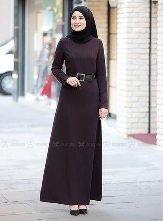 Mürdüm Damla Elbise - RZ14236 - Thumbnail