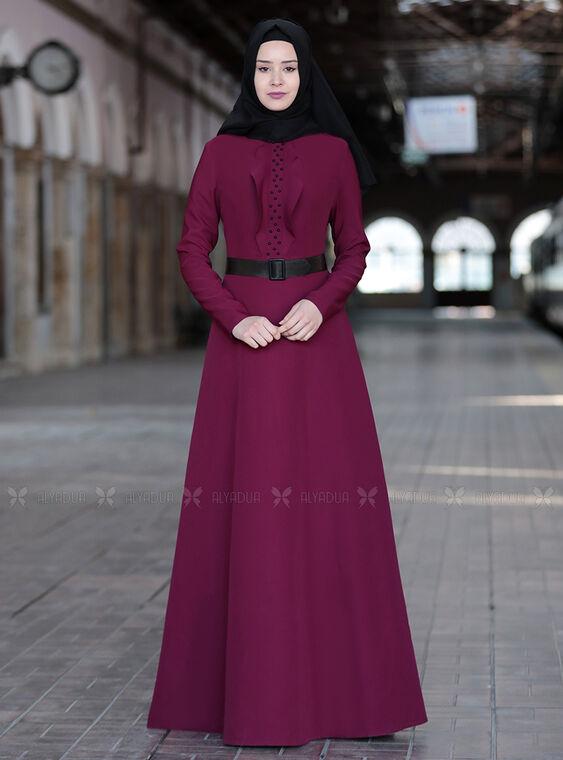 Sefanisa - Mürdüm Ela Elbise - SFN15011