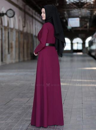 Mürdüm Ela Elbise - SFN15011 - Thumbnail