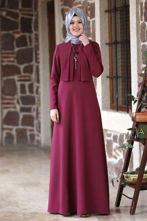 Nidya Moda - Mürdüm Eylül Elbise - NM15793