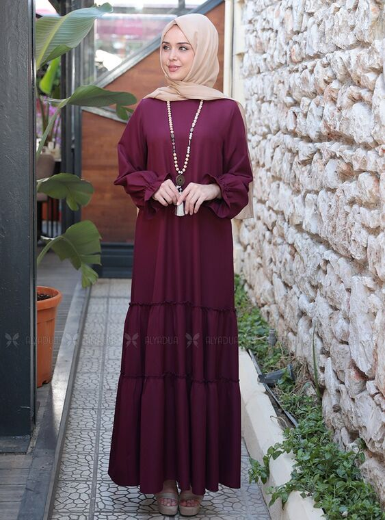 Emsale - Mürdüm Kaktüs Elbise - ES15318