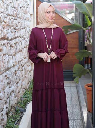 Mürdüm Kaktüs Elbise - ES15318 - Thumbnail