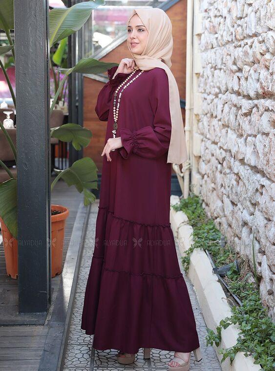 Mürdüm Kaktüs Elbise - ES15318
