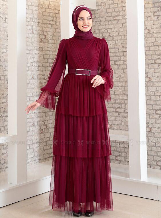 Fashion Showcase - Mürdüm Katlı Kemerli Tül Abiye - FS15186