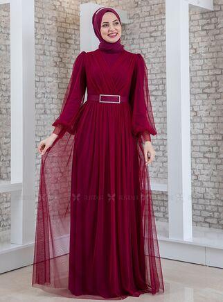 Fashion Showcase - Mürdüm Kemeri Taşlı Tül Detay Abiye - FS15193