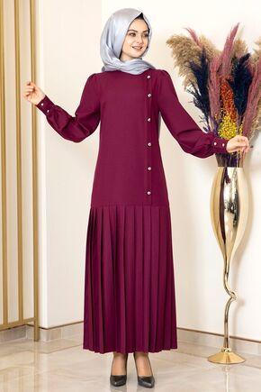 Fashion Showcase - Mürdüm Piliseli Damla Elbise - FS15848