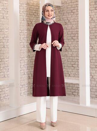 Fashion Showcase - Mürdüm Taş Detay Üçlü Takım - FS15029