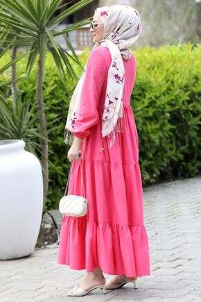 Pembe Alaçatı Elbise - ST15895 - Thumbnail