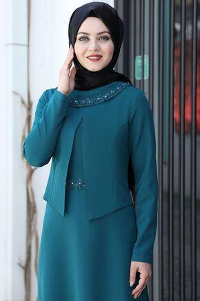 Petrol Ayliz Elbise - AHU15956 - Thumbnail