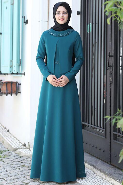 Ahunisa - Petrol Ayliz Elbise - AHU15956