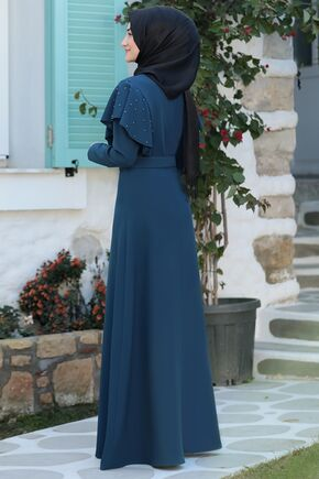 Petrol Damla Elbise - RS15787 - Thumbnail