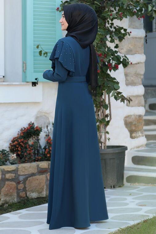 Petrol Damla Elbise - RS15787