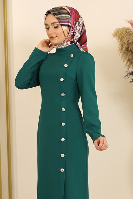 Petrol Düğme Detay Manolya Elbise - FS16310