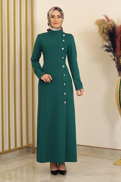 Fashion Showcase - Petrol Düğme Detay Manolya Elbise - FS16310