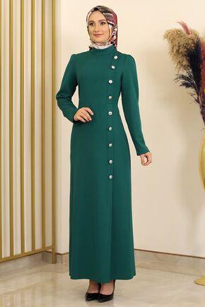 Petrol Düğme Detay Manolya Elbise - FS16310 - Thumbnail