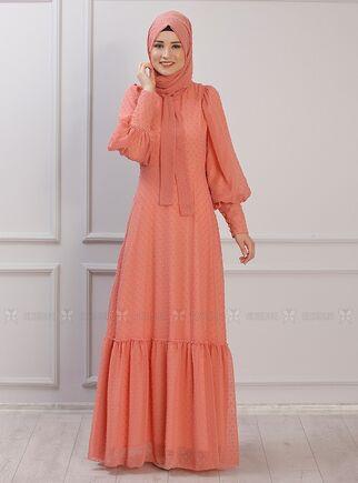 Rana Zenn - Portakal Işıl Elbise - RZ15339