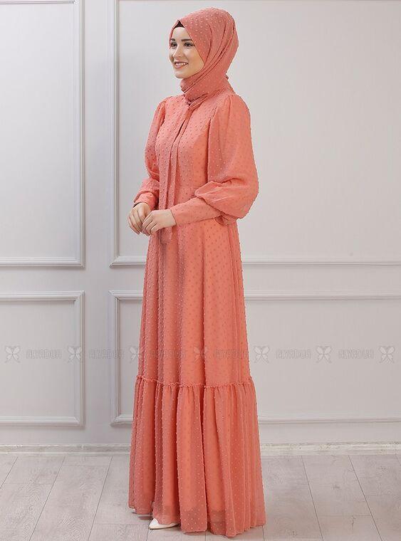 Portakal Işıl Elbise - RZ15339