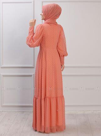 Portakal Işıl Elbise - RZ15339 - Thumbnail