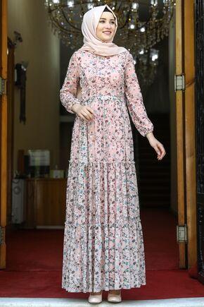Amine Hüma - Pudra Çiçekli Elbise - AMH16279