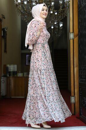 Pudra Çiçekli Elbise - AMH16279 - Thumbnail