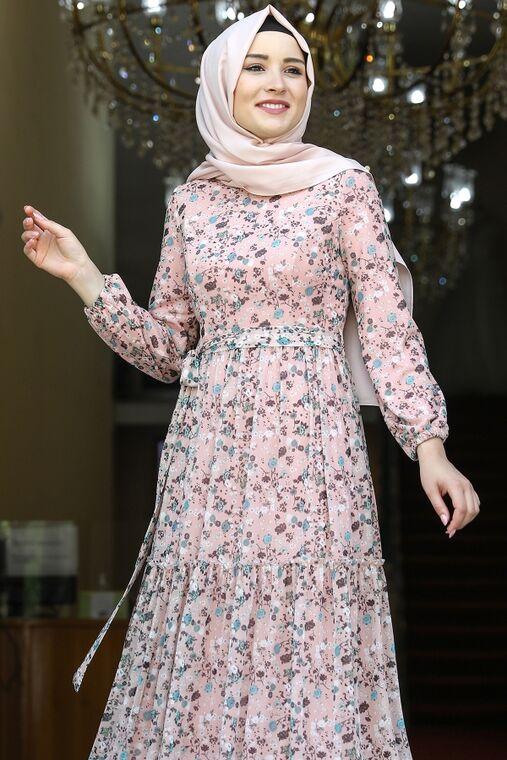 Pudra Çiçekli Elbise - AMH16279