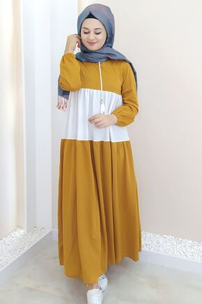 Selma Sarı - Hardal Farah Elbise - SES15384