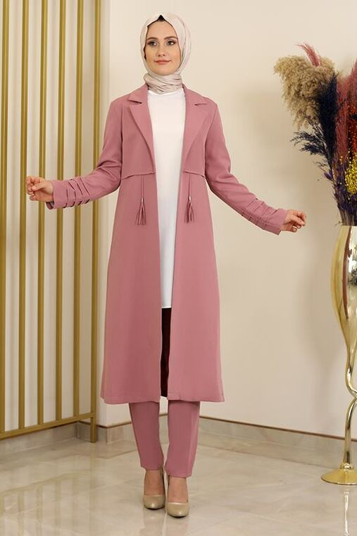 Fashion Showcase - Pudra Nervürlü İkili Takım - FS16333