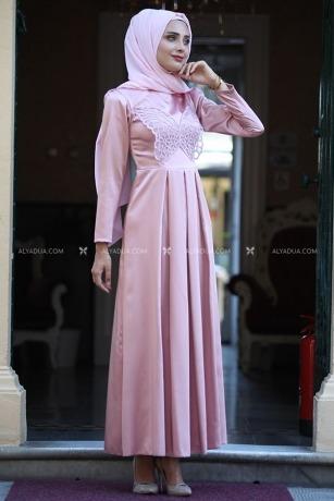 Pudra Taş Detaylı Elbise - HZ13145 - Thumbnail
