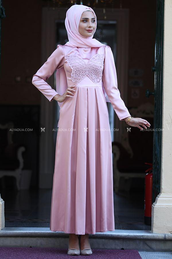 Alyadua - Pudra Taş Detaylı Elbise - HZ13145