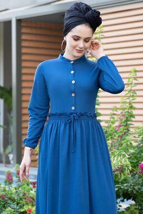 Saks Fırfırlı Elbise - SES15391 - Thumbnail