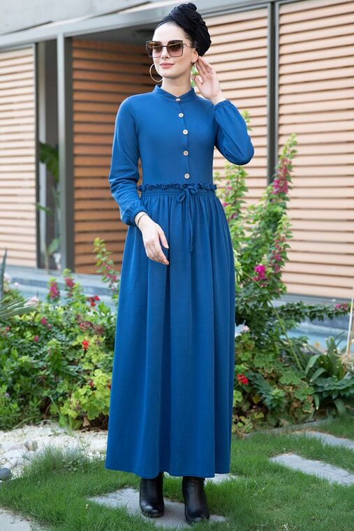 Selma Sarı - Saks Fırfırlı Elbise - SES15391