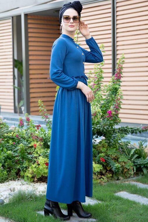 Saks Fırfırlı Elbise - SES15391