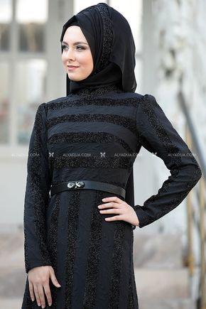 Siyah Abiye - SŞ11142 - Thumbnail