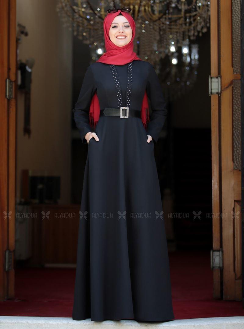 Semra Aydın - Siyah Ada İncili Elbise - SA142560
