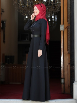 Siyah Ada İncili Elbise - SA142560 - Thumbnail