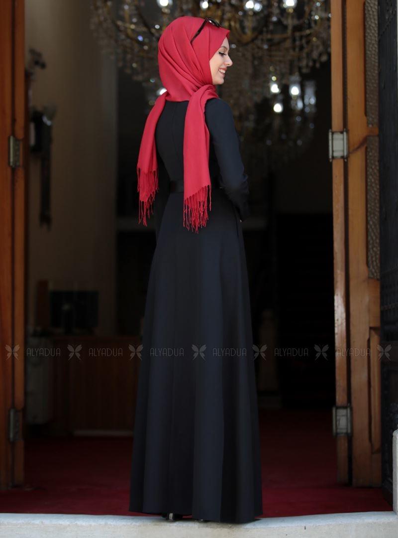 Siyah Ada İncili Elbise - SA142560