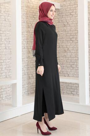 Siyah Aerobin Gizli Düğmeli Uzun Tunik - FS15704 - Thumbnail