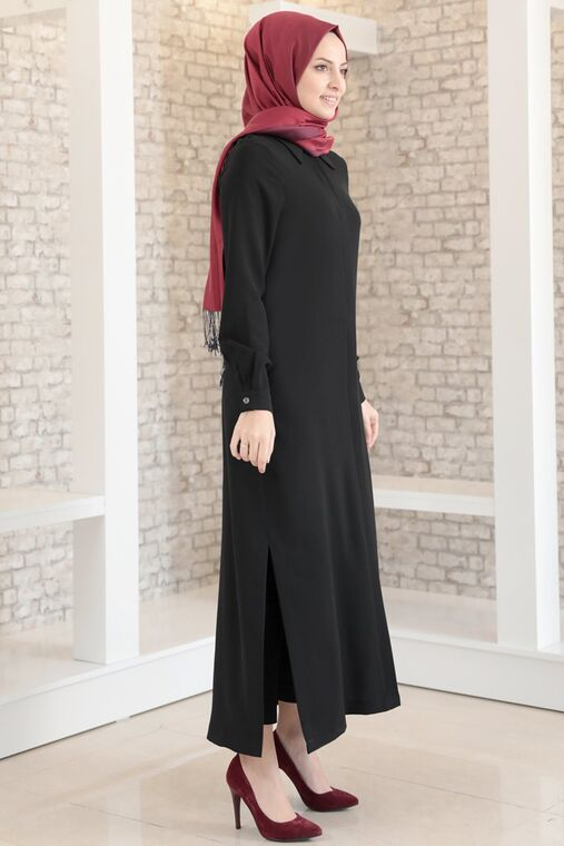 Siyah Aerobin Gizli Düğmeli Uzun Tunik - FS15704