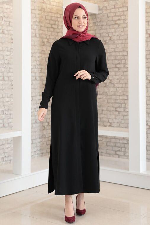 Fashion Showcase - Siyah Aerobin Gizli Düğmeli Uzun Tunik - FS15704