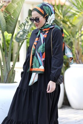 Siyah Alaçatı Elbise - ST15899 - Thumbnail