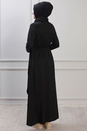 Siyah Ayça Elbise - RZ153381 - Thumbnail