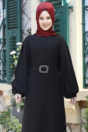 Siyah Aycan Elbise - ES15882 - Thumbnail