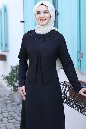 Siyah Ayliz Elbise - AHU15953 - Thumbnail