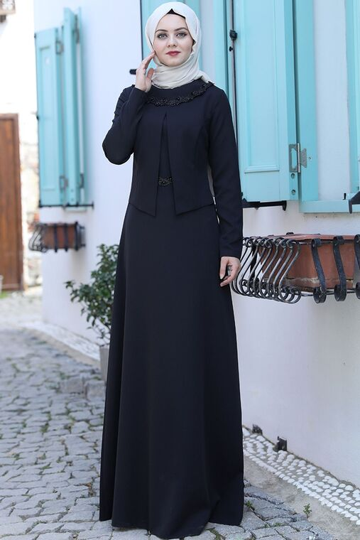 Ahunisa - Siyah Ayliz Elbise - AHU15953