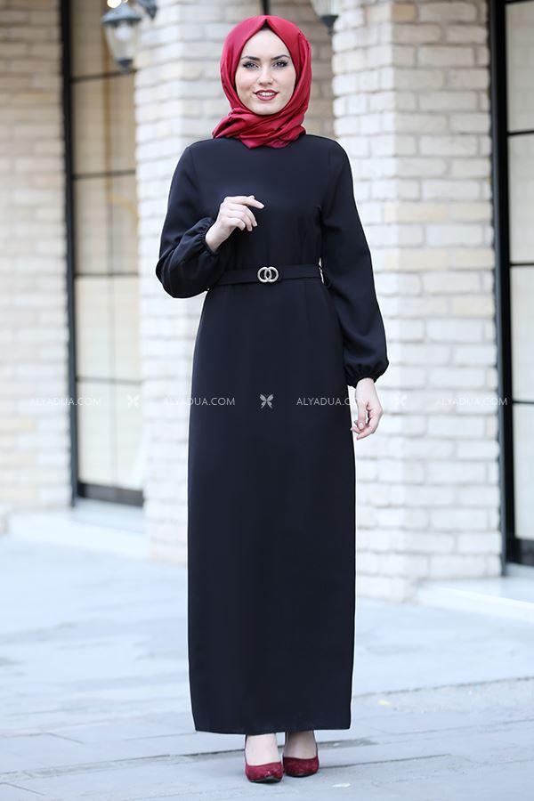 MDV Collection - Siyah Balon Kol Elbise - AD13587