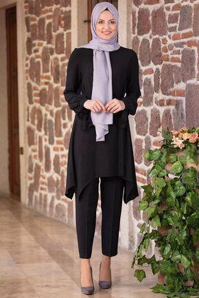 Fashion Showcase - Siyah Beli Bağcıklı Çarpraz Takım - FS15434